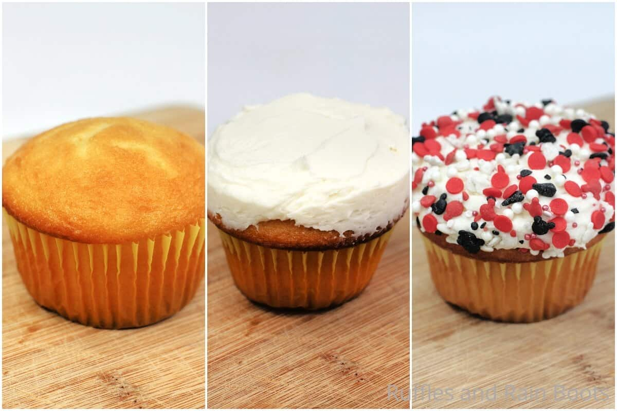photo collage tutorial of how to make donut minnie cupcakes