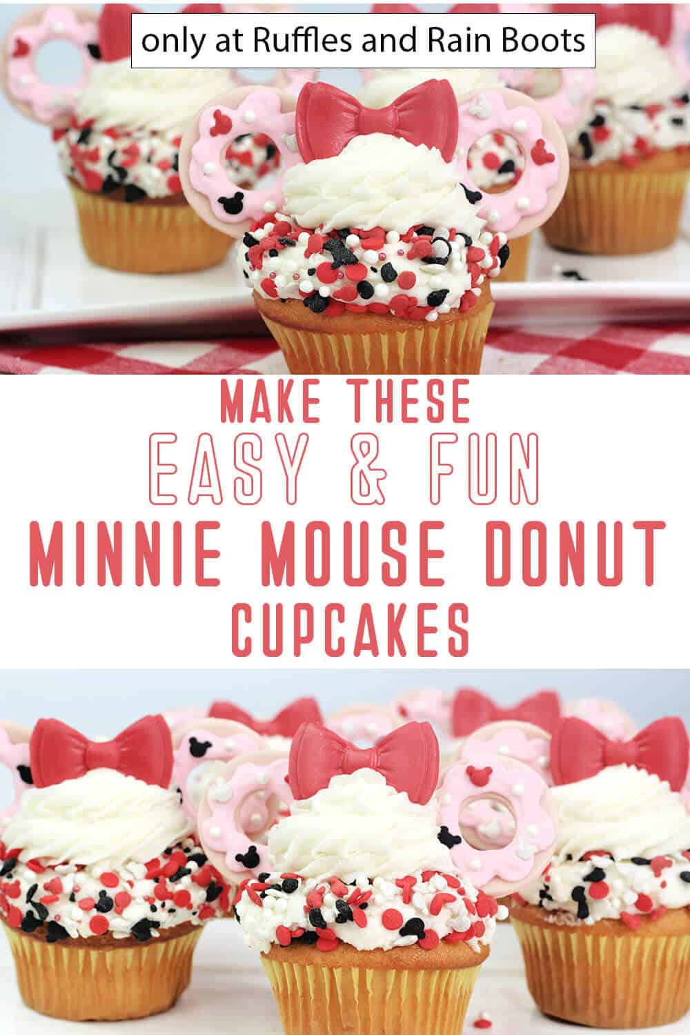 photo collage of donut minnie mouse cupcakes with text which reads make this easy & fun minnie mouse donut cupcakes