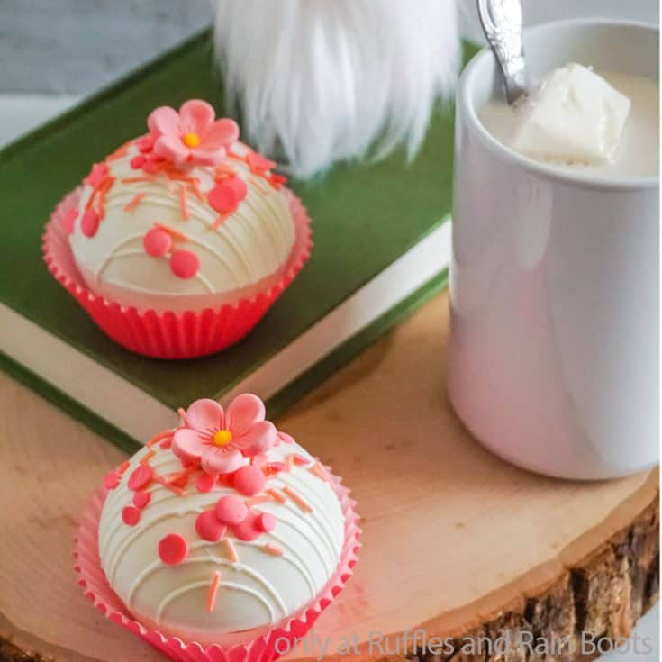 mother's day hot cocoa bombs sugar cookie white chocolate hot cocoa bombs