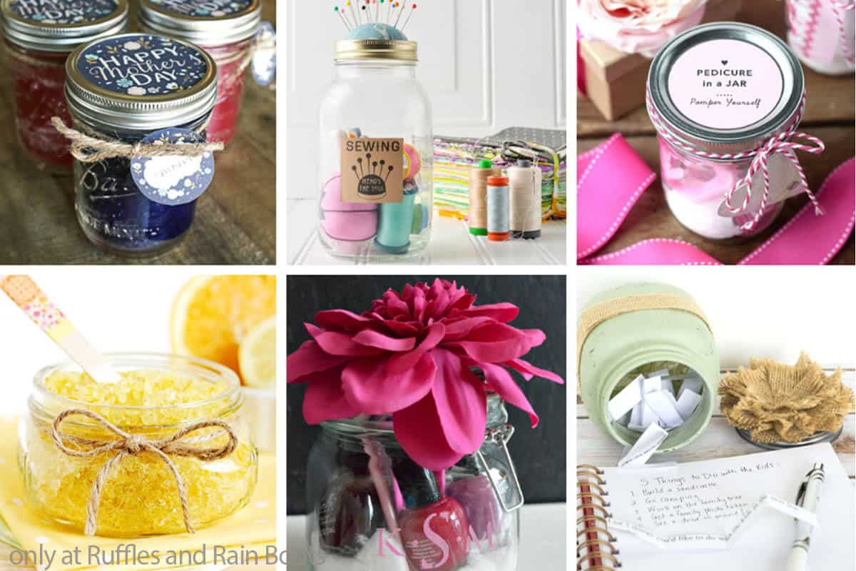 photo collage of the best mother's day gift in a jar ideas