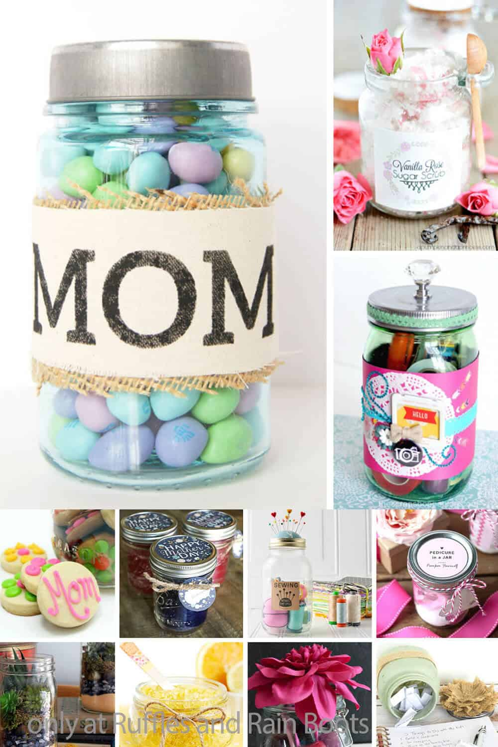 photo collage of mason jar gifts for mother's day