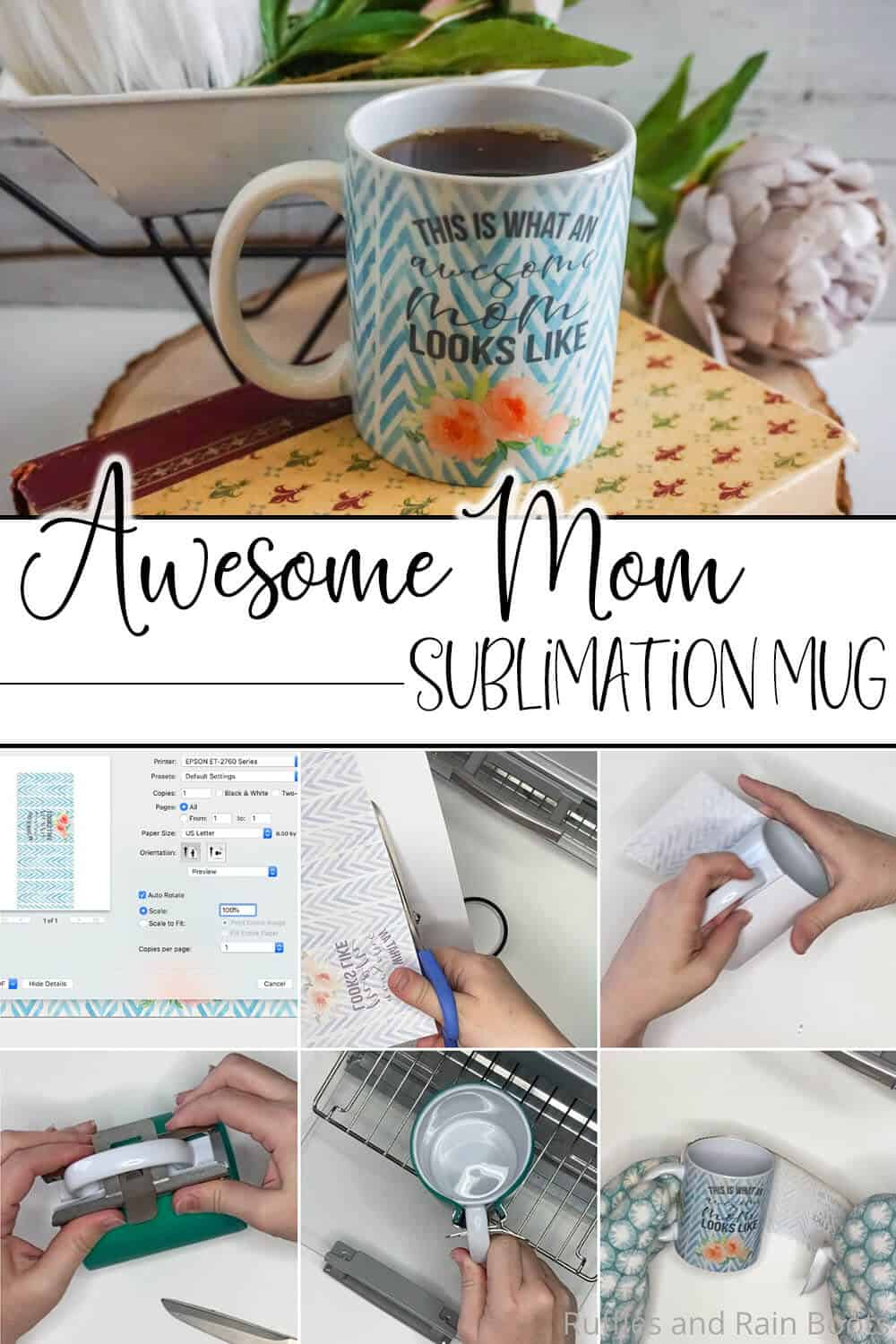 photo collage of awesome mom sublimation mug design file and craft with text which reads awesome mom sublimation mug