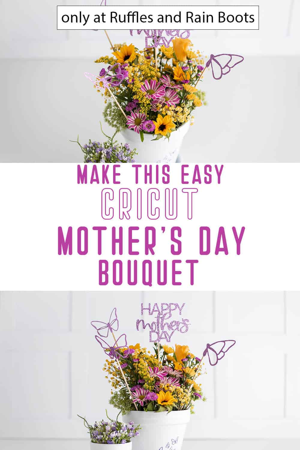 photo collage of mother's day bouquet flower pick cricut craft with text which reads make this easy cricut mother's day bouquet