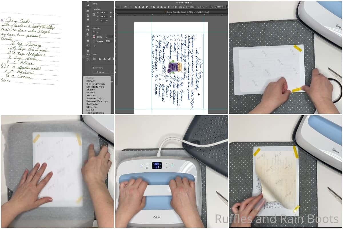 photo collage tutorial of how to make a sublimation cutting board with an heirloom recipe