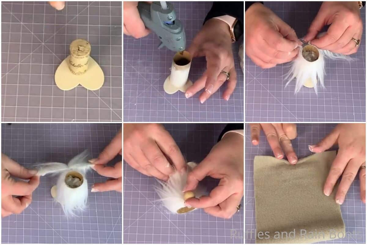 photo collage tutorial of how to make a tiny tiered tray gnome