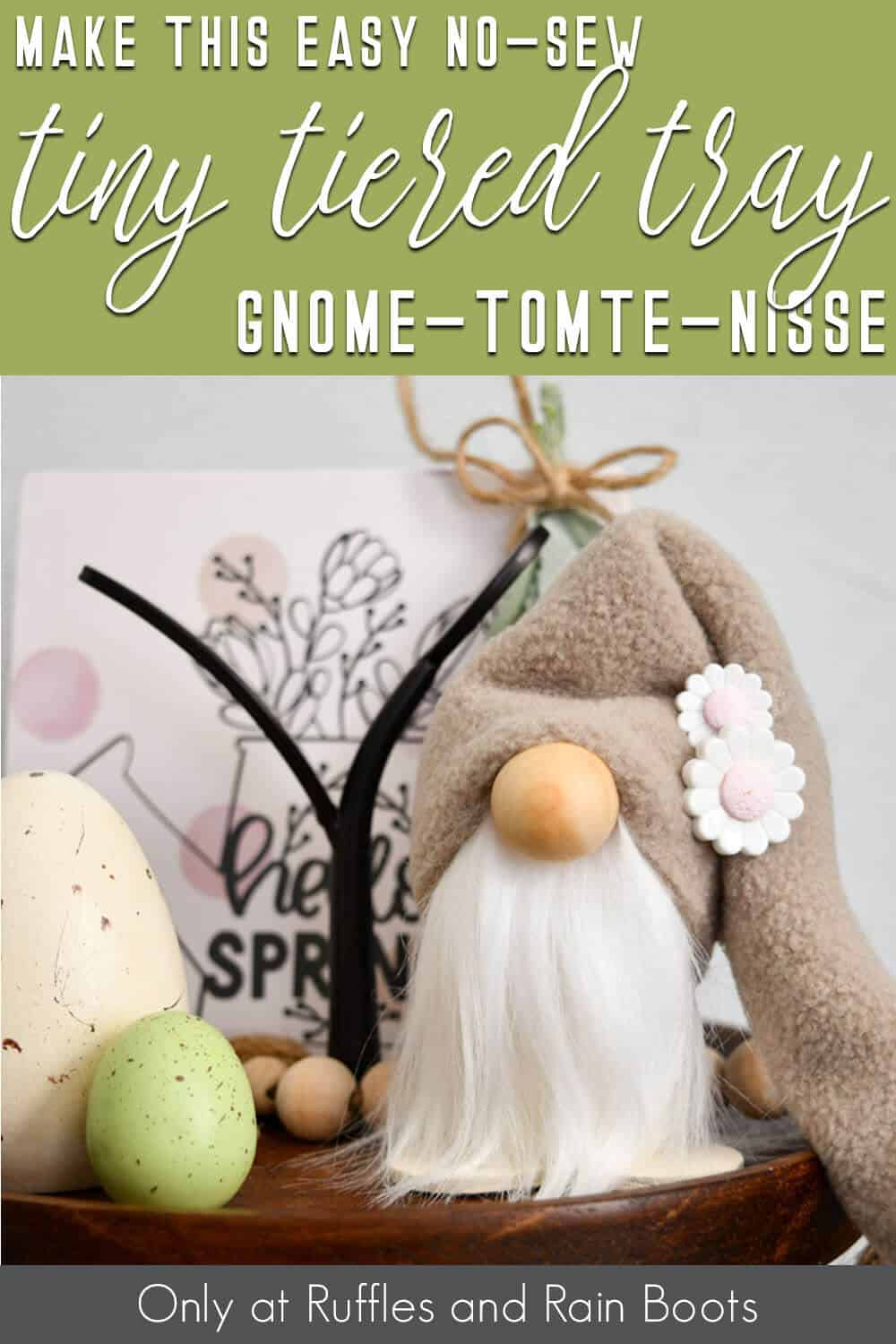 farmhouse tiered tray gnome scrap-buster project with text which reads make this easy no-sew tiny tiered tray gnome tomte nisse