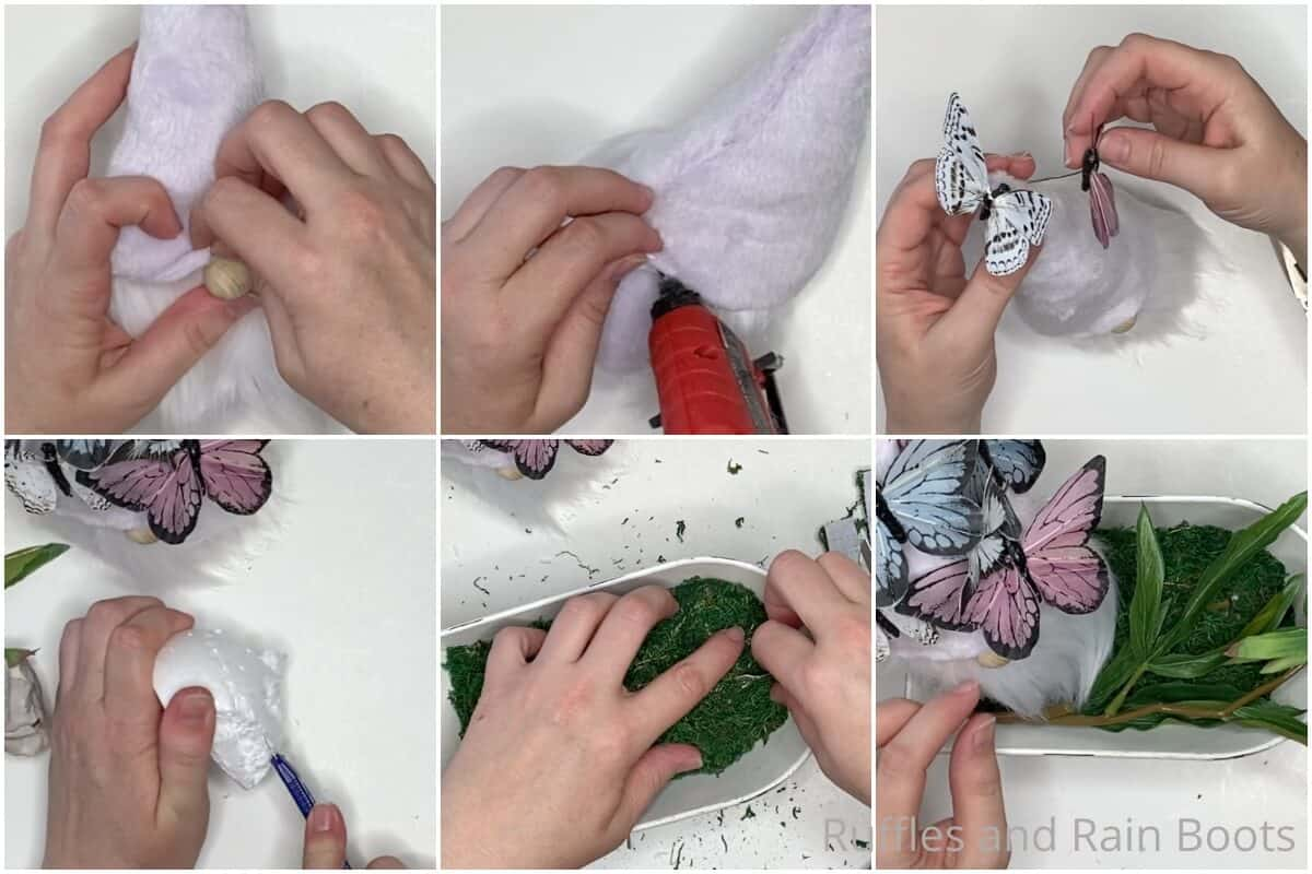 photo collage tutorial of how to make a gnome with a butterfly hat