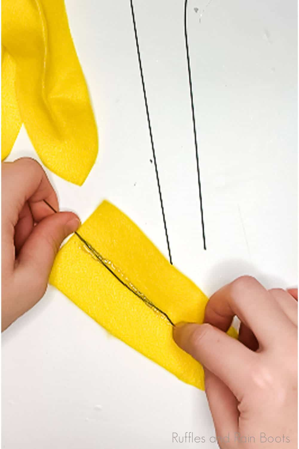 in-process step of making posable flower petals to make a sewing pattern for a sunflower gnome