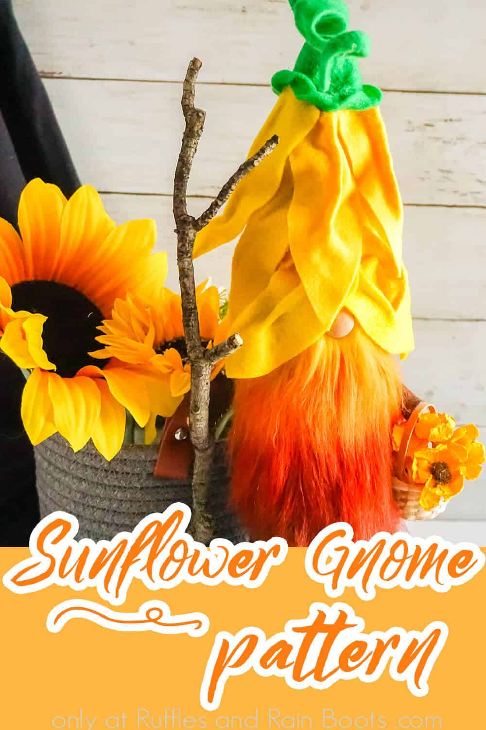flower gnome with ombre beard with text which reads sunflower gnome pattern
