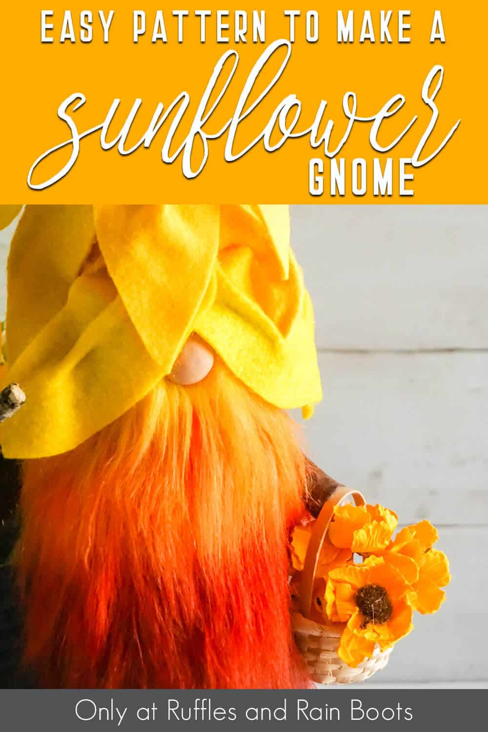 sunflower hat gnome pattern with text which reads easy pattern to make a sunflower gnome