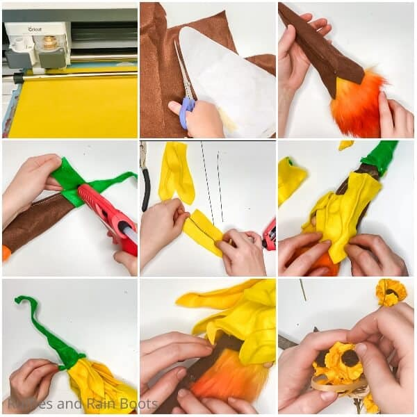 photo collage tutorial of how to make a sunflower gnome