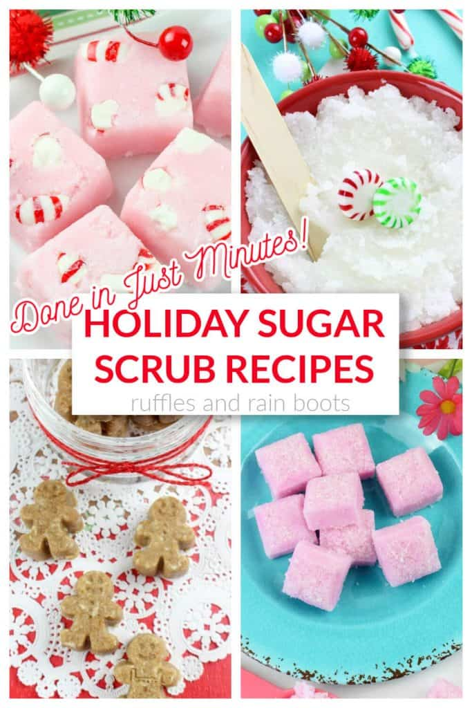 collage of 4 sugar scrubs for Christmas and the holiday season with text which reads holiday sugar scrub recipes