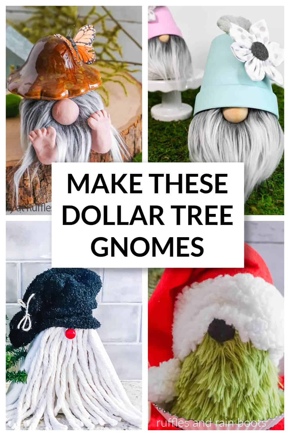 collage of dollar tree gnomes for Christmas spring and all seasons