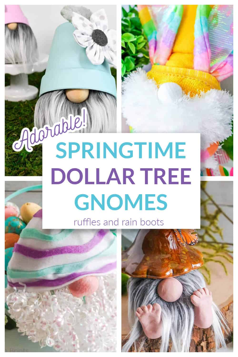 collage of 4 pastel colored gnomes for Spring made with dollar tree items
