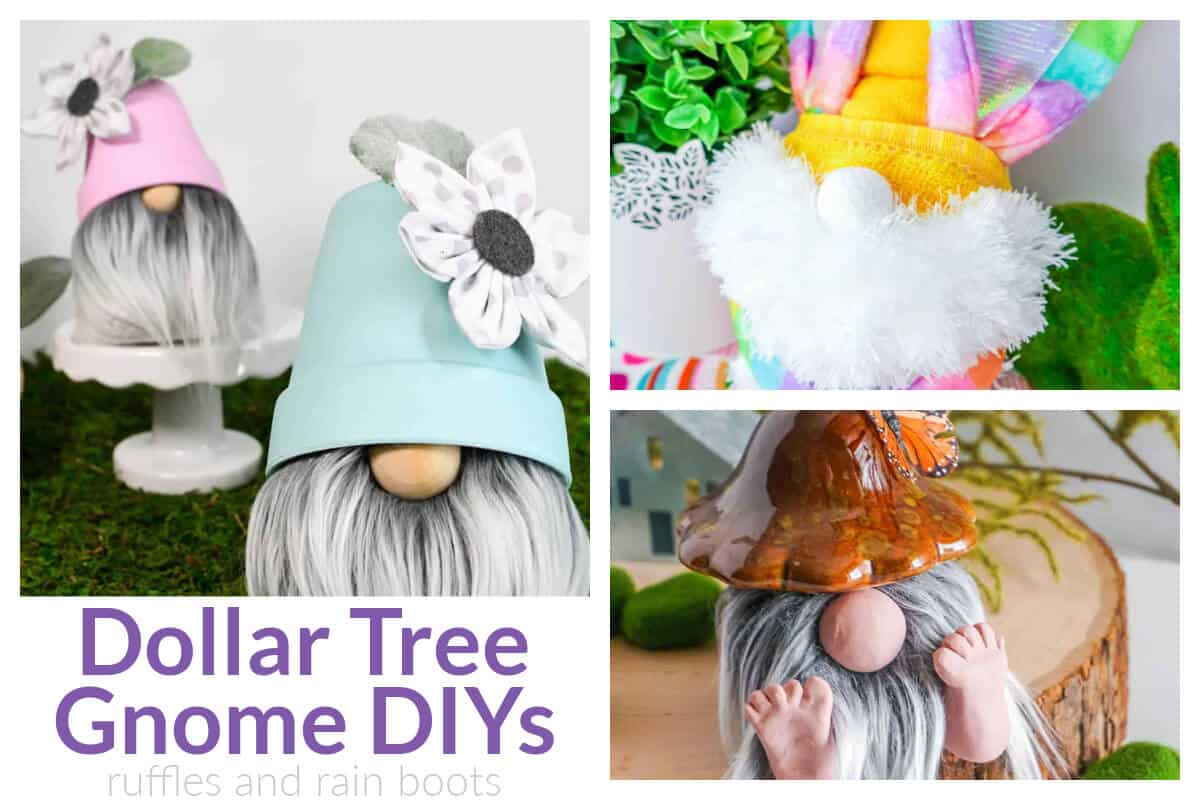 three images of Dollar Tree gnome projects to be made with a glue gun