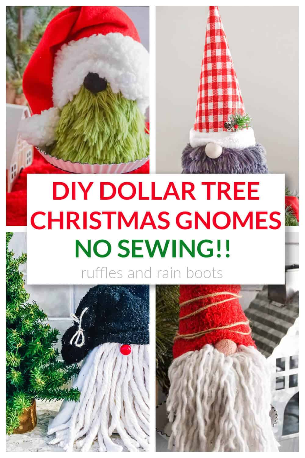 four holiday gnomes in a collage with text that reads diy dollar tree Christmas gnomes no sewing