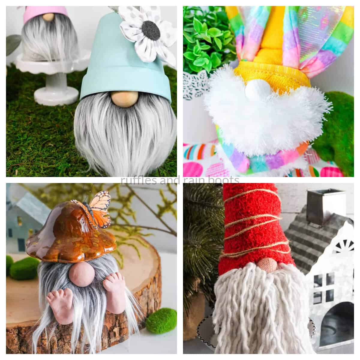 dollar tree gnomes collage from ruffles and rain boots