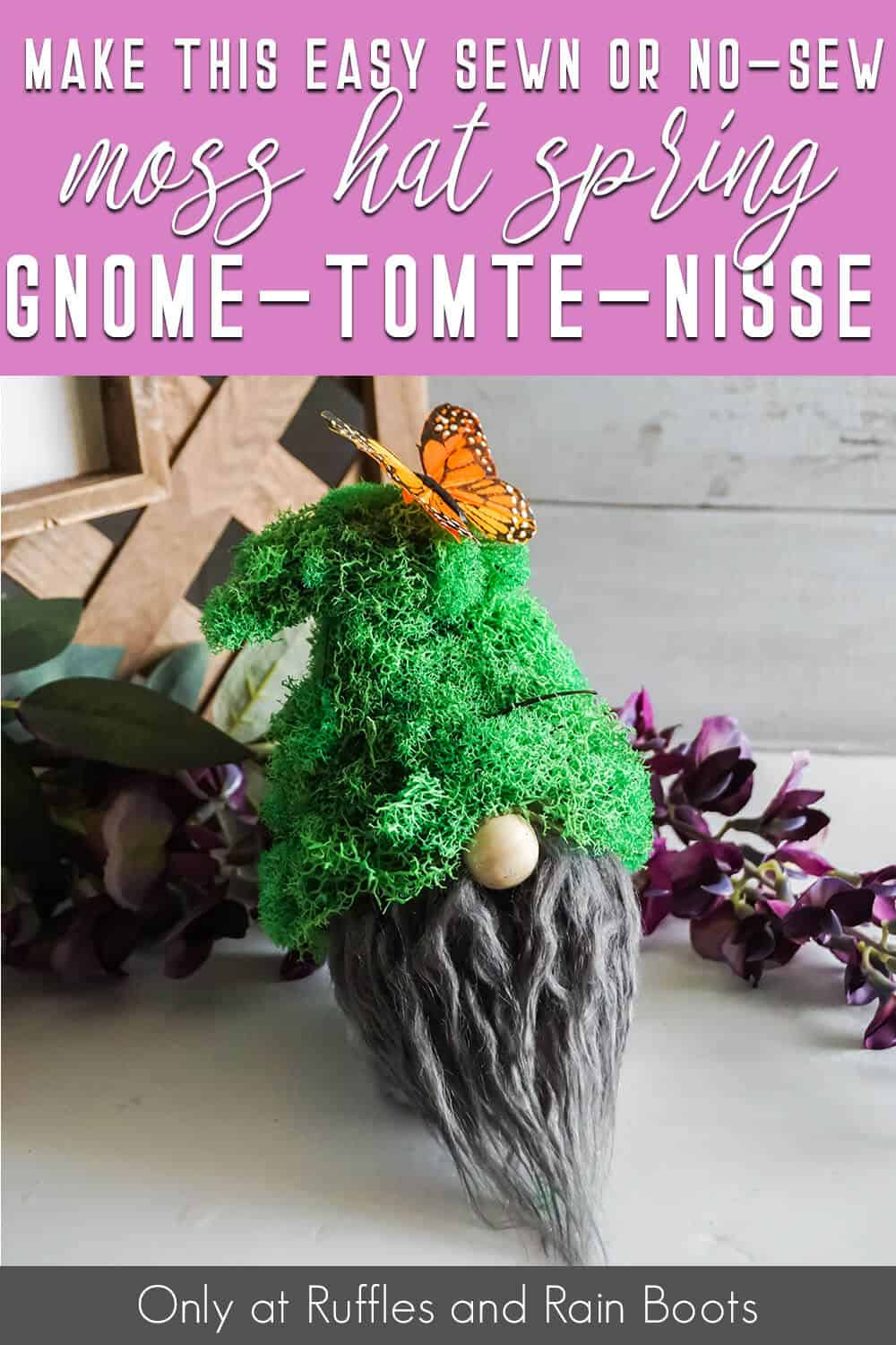 moss no-sew gnome pattern with text which reads make this sewn or no-sew moss hat spring gnome tomte nisse