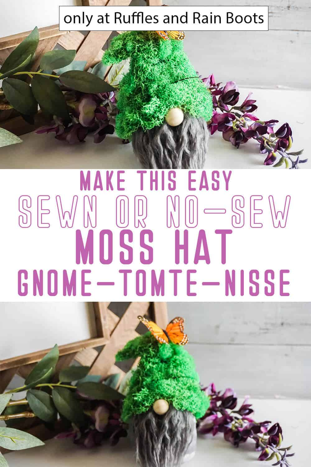photo collage of moss hat gnome pattern with text which reads make this easy sewn or no-sew moss hat gnome tomte nisse