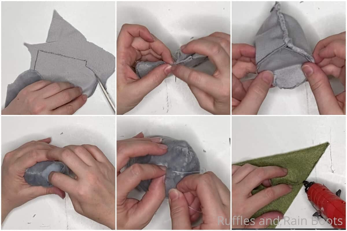 photo collage tutorial of how to make a moss hat gnome pattern