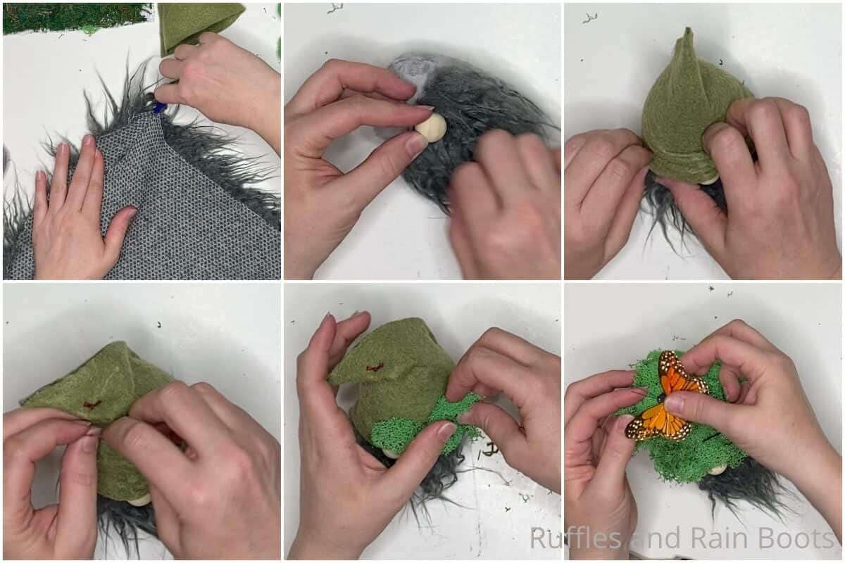 photo collage tutorial of how to make a moss gnome pattern