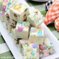 Easter Fudge with M&Ms