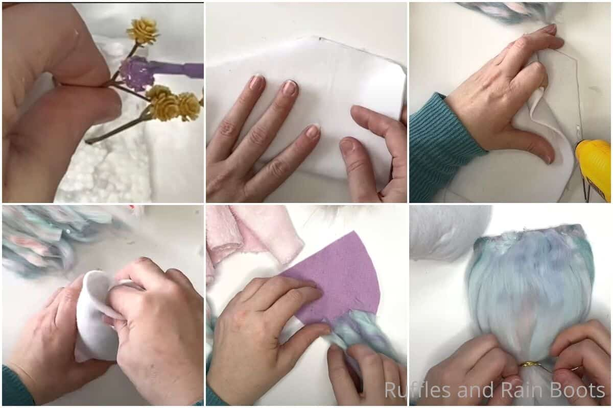 photo collage tutorial of how to make a unicorn gnome