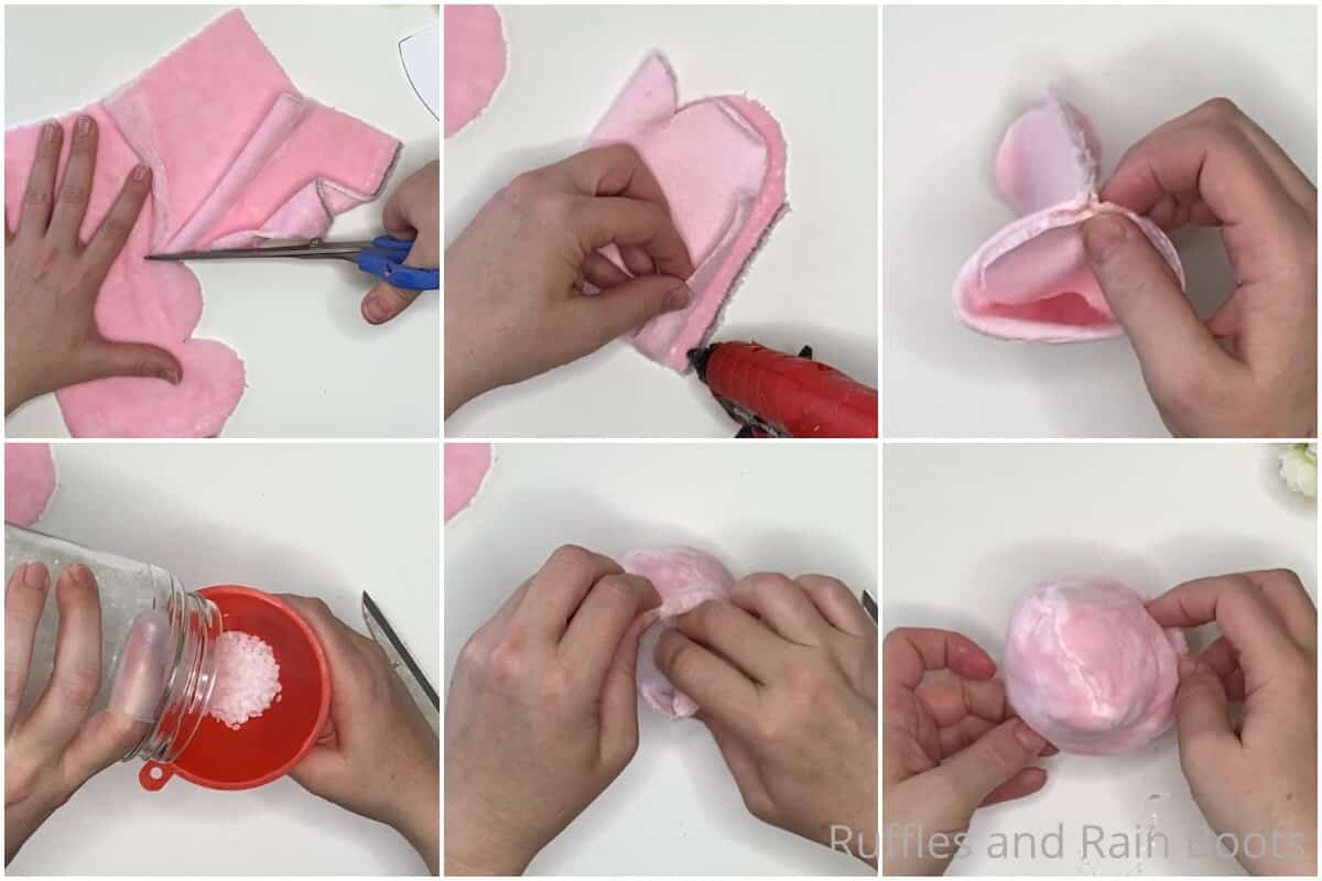 photo collage tutorial of how to make a flower pot gnome