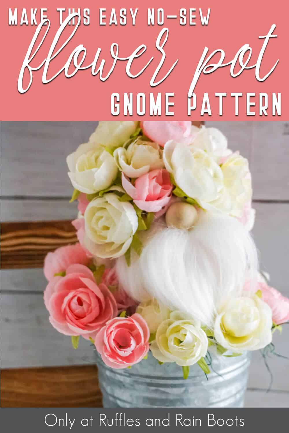 flower no-sew gnome pattern with text which reads make this easy no-sew flower pot gnome pattern