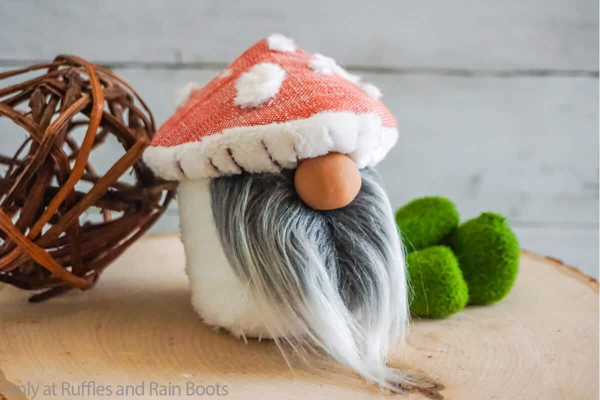 tiered tray gnome with a mushroom hat
