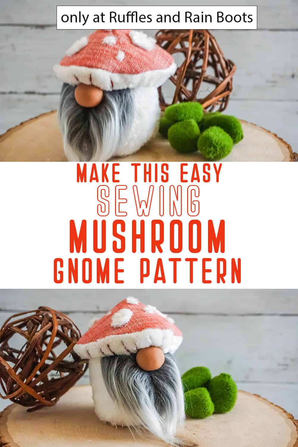photo collage of mushroom cap gnome pattern gnome sewing pattern with text which reads make this easy sewing mushroom gnome pattern