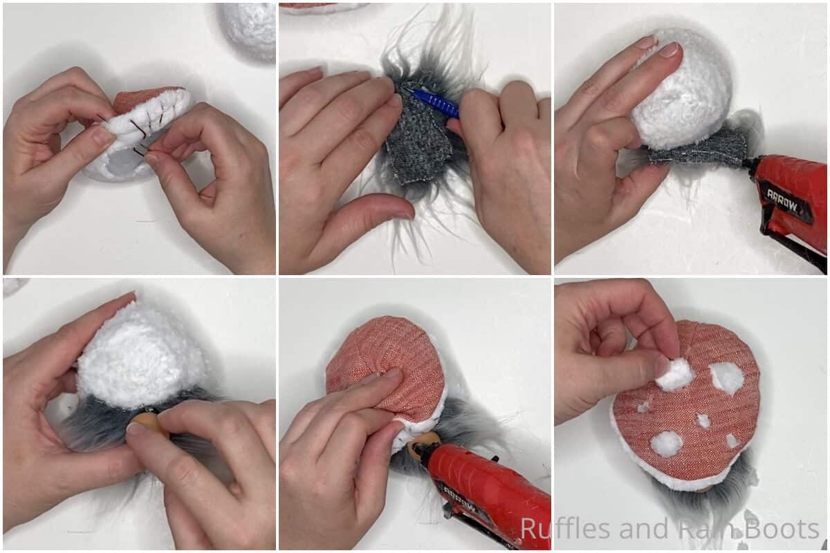 photo collage tutorial of how to make a gnome mushroom