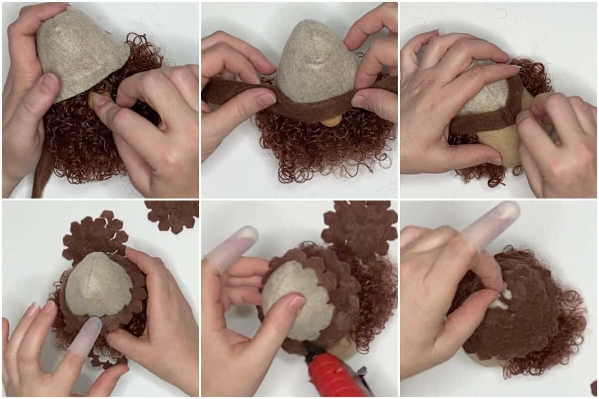 photo collage tutorial of how to make a pine cone gnome