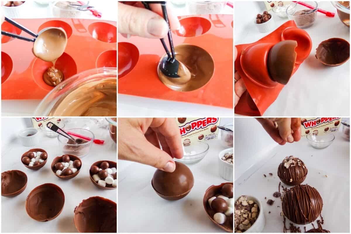 photo collage tutorial of how to make whoppers hot cocoa bombs