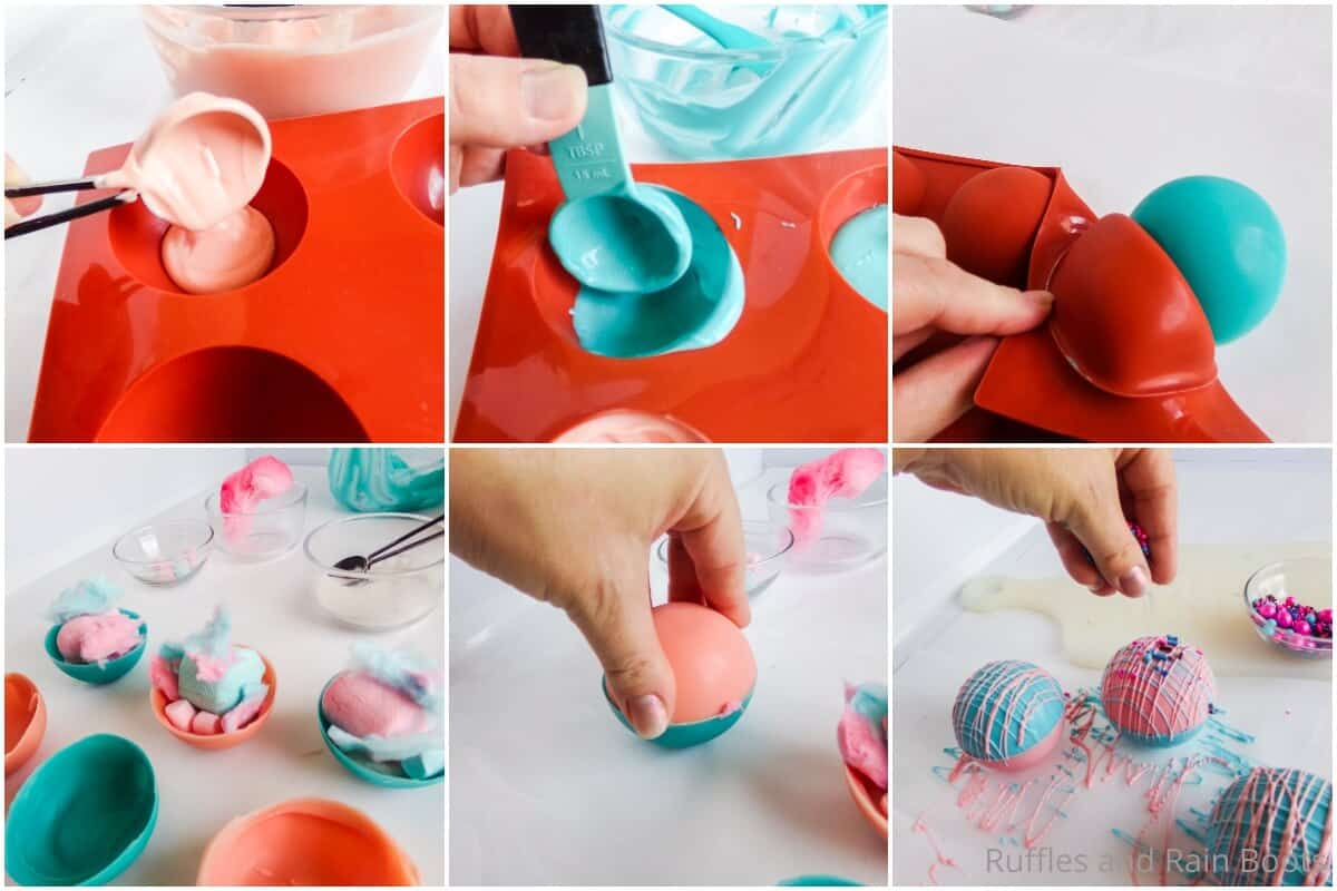 photo collage tutorial of how to make cotton candy hot cocoa bombs