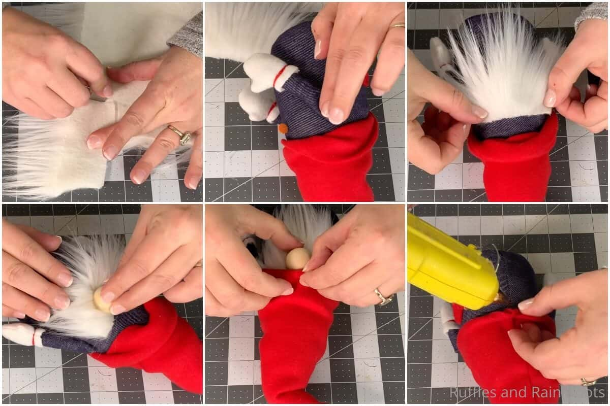 photo collage tutorial of how to make a july 4th gnome