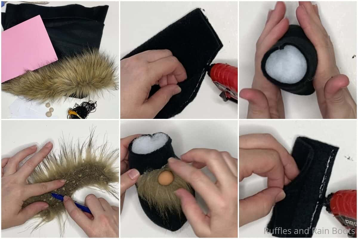 photo collage tutorial of how to make a graduation gnome