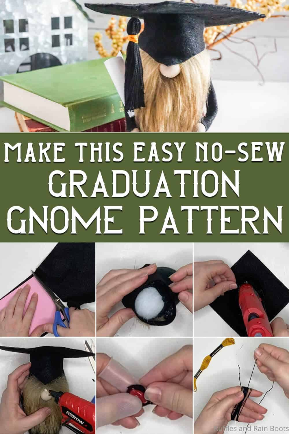 photo collage of graduation gnome pattern cap and gown with text which reads make this easy no-sew graduation gnome pattern