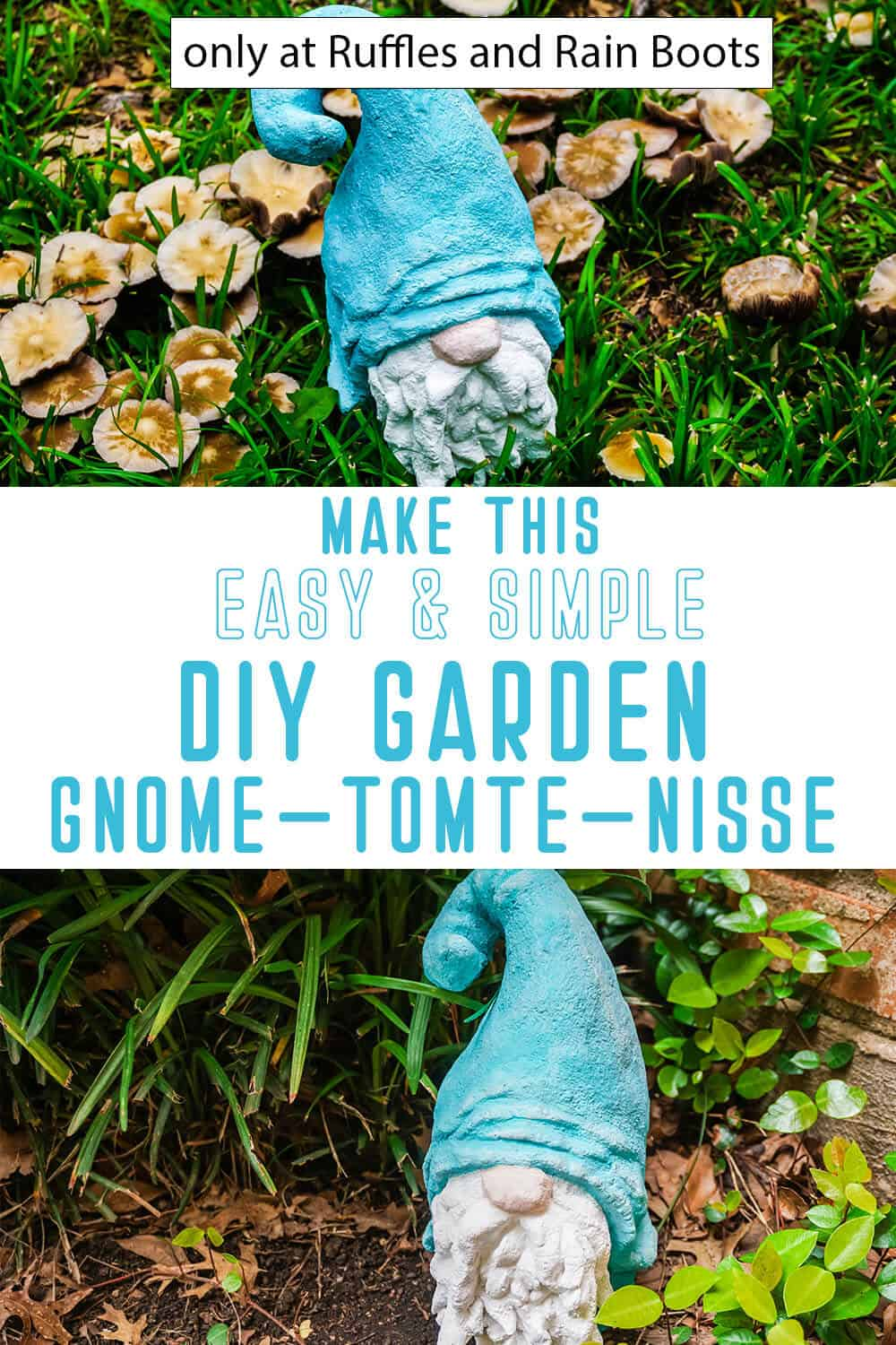 photo collage of diy garden gnome from concrete with text which reads make this easy and simple diy garden gnome tomte nisse