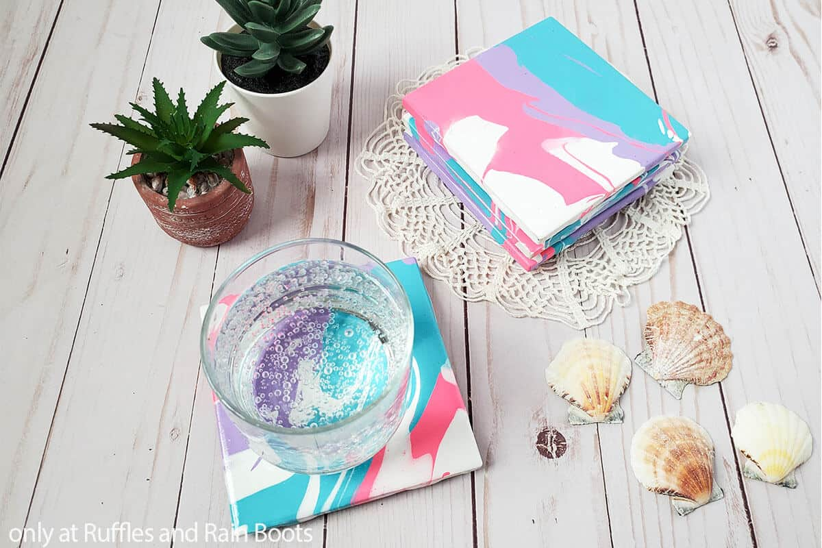paint pour coasters summer craft for beginners