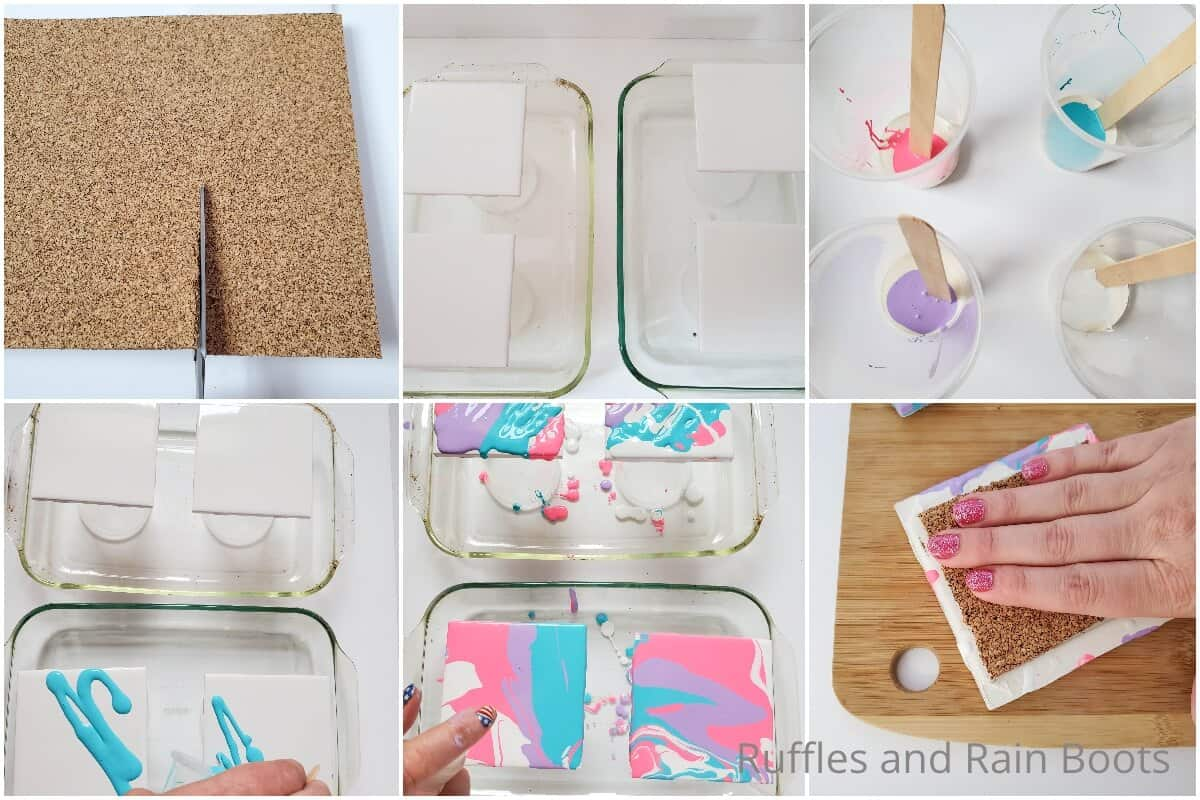 photo collage tutorial of how to make paint pour coasters
