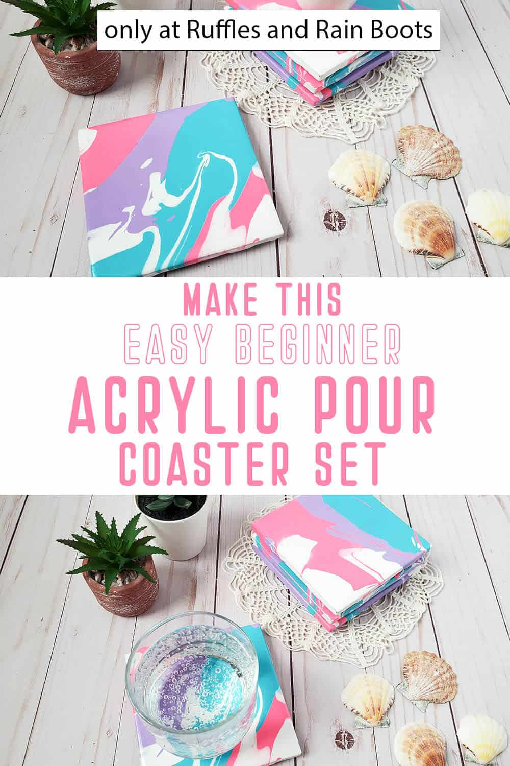 photo collage of beginner paint pouring project idea coasters with text which reads make this easy beginner acrylic pour coaster set