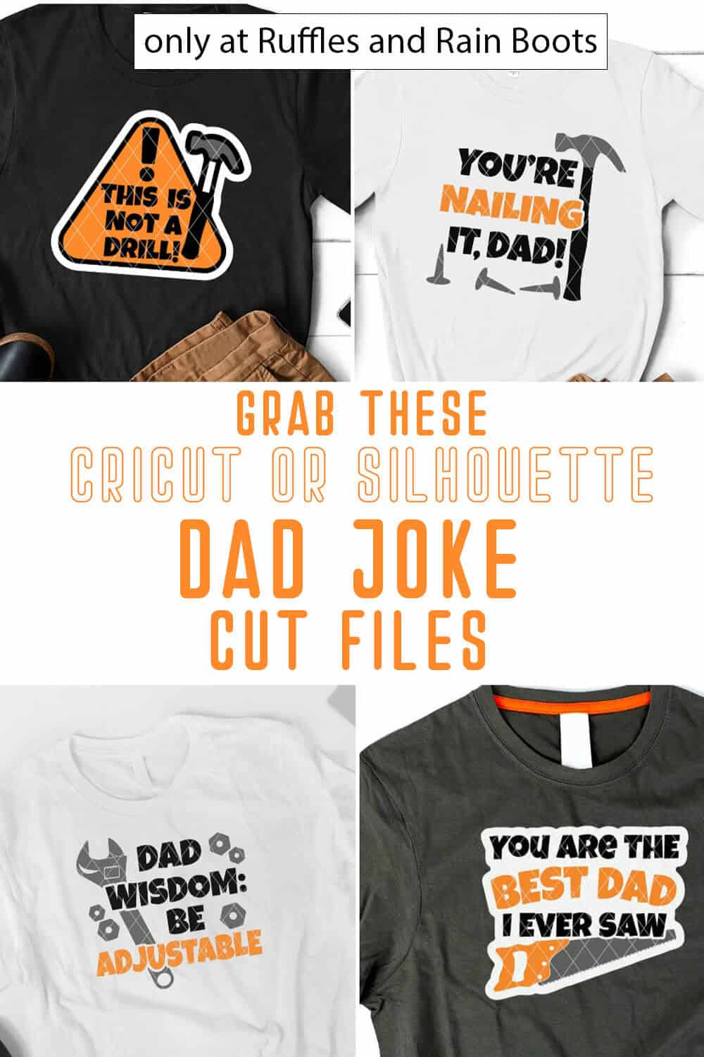 photo collage of fathers day svg set for cricut or silhouette with text which reads grab these cricut or silhouette dad joke cut files