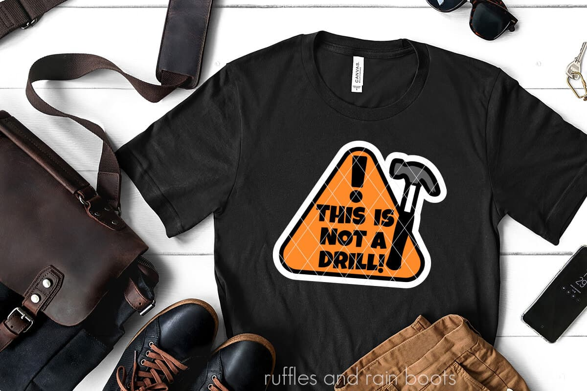 this is not a drill fathers day svg on a black t-shirt