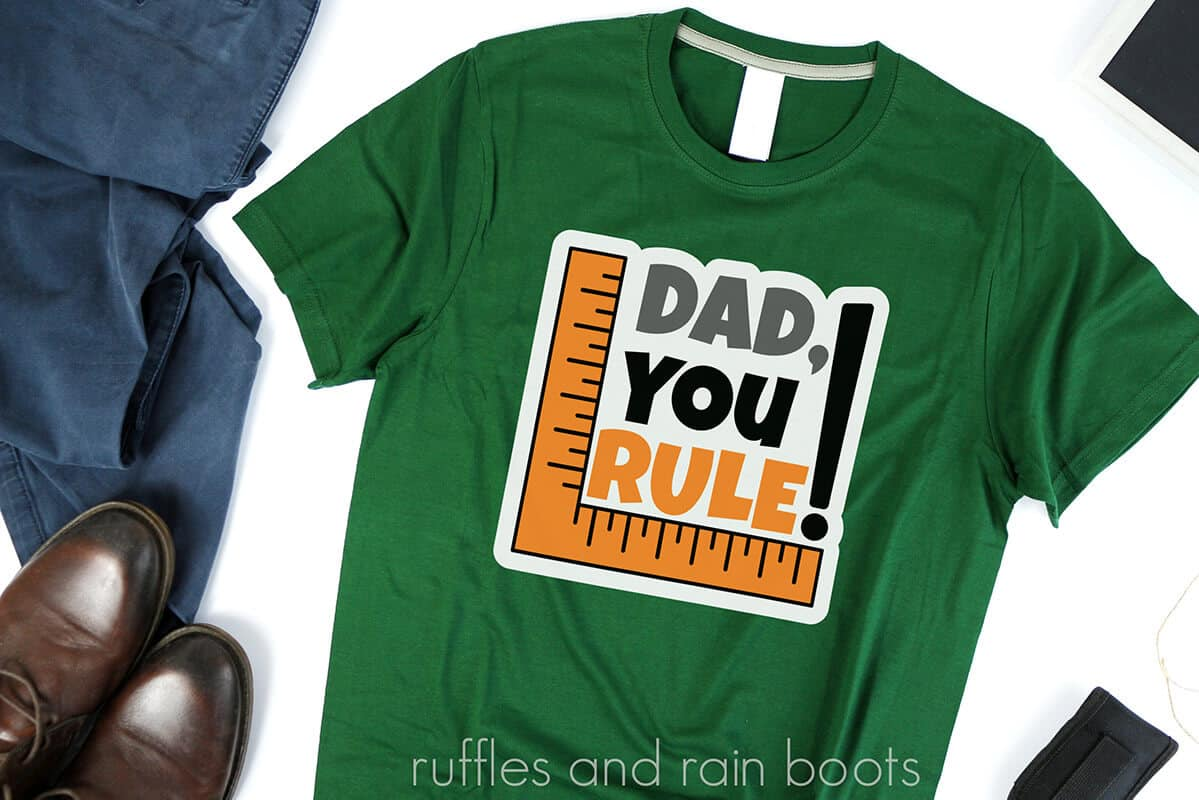 dad you rule fathers day svg on a green tshirt