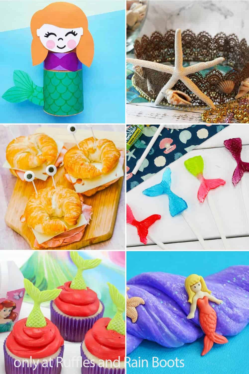 photo collage of party ideas for a mermaid theme