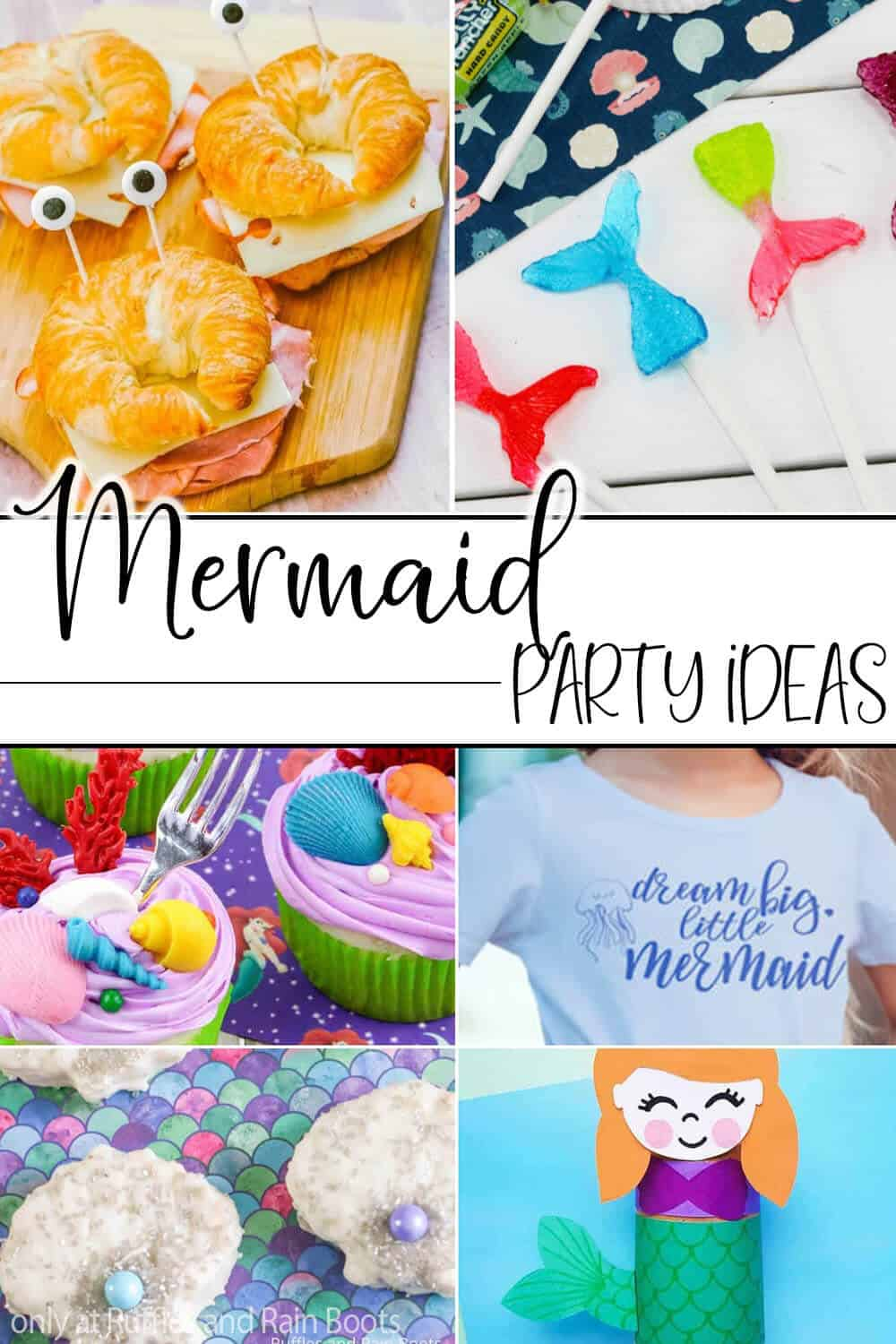 photo collage of mermaid themed party ideas with text which reads mermaid party ideas