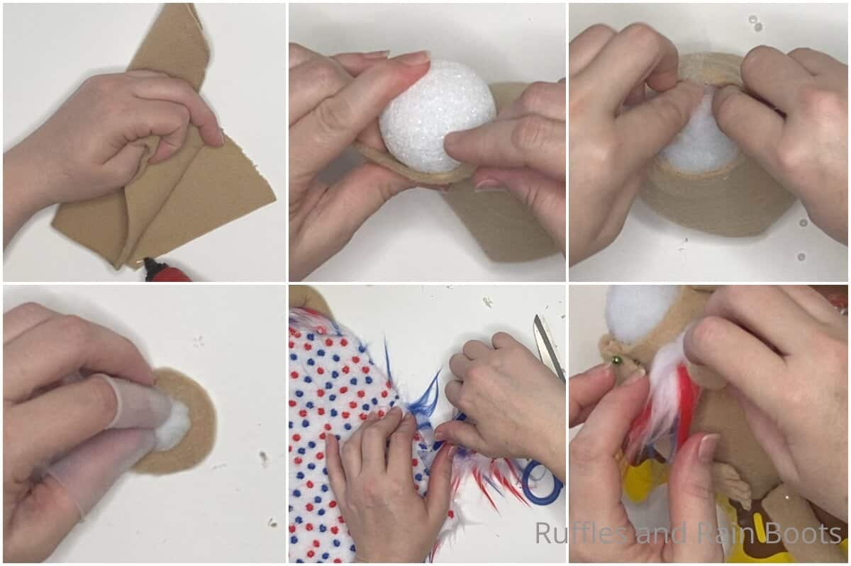 photo collage tutorial of how to make a beach gnome pattern