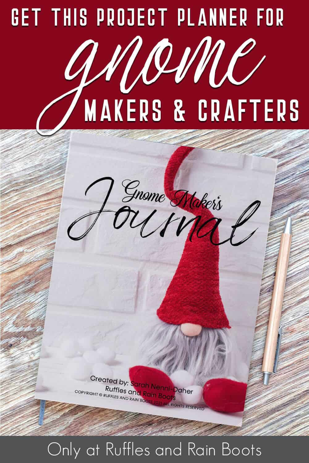 gnome maker's project planner with text which reads get this project planner for gnome makers and crafters
