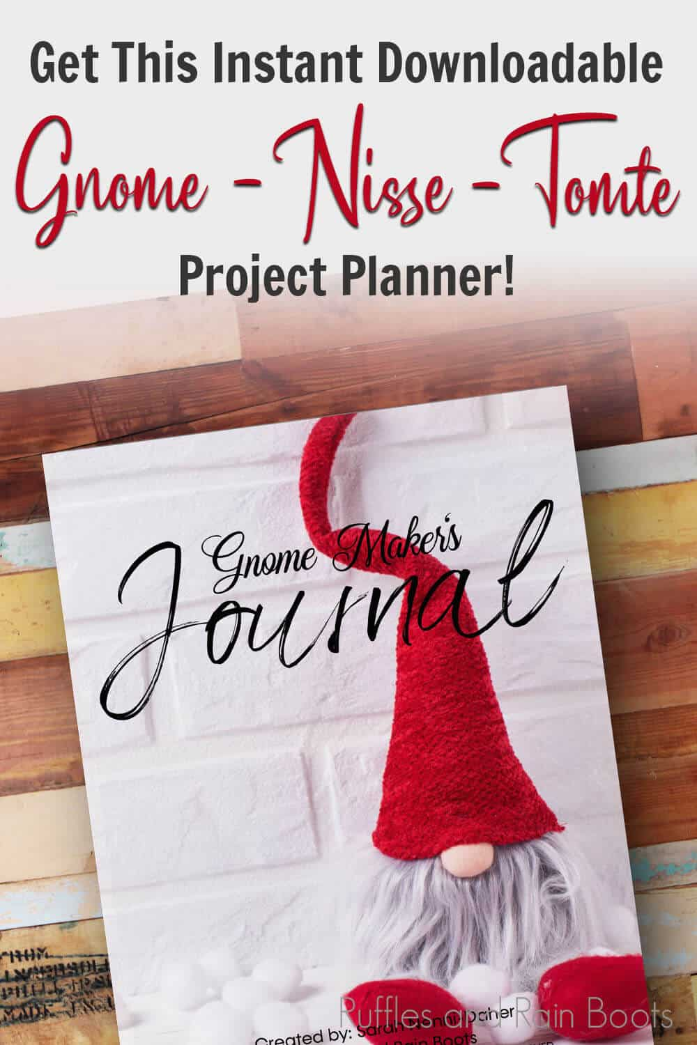 gnome business planner with text which reads get this instant downloadable gnome nisse tomte project planner